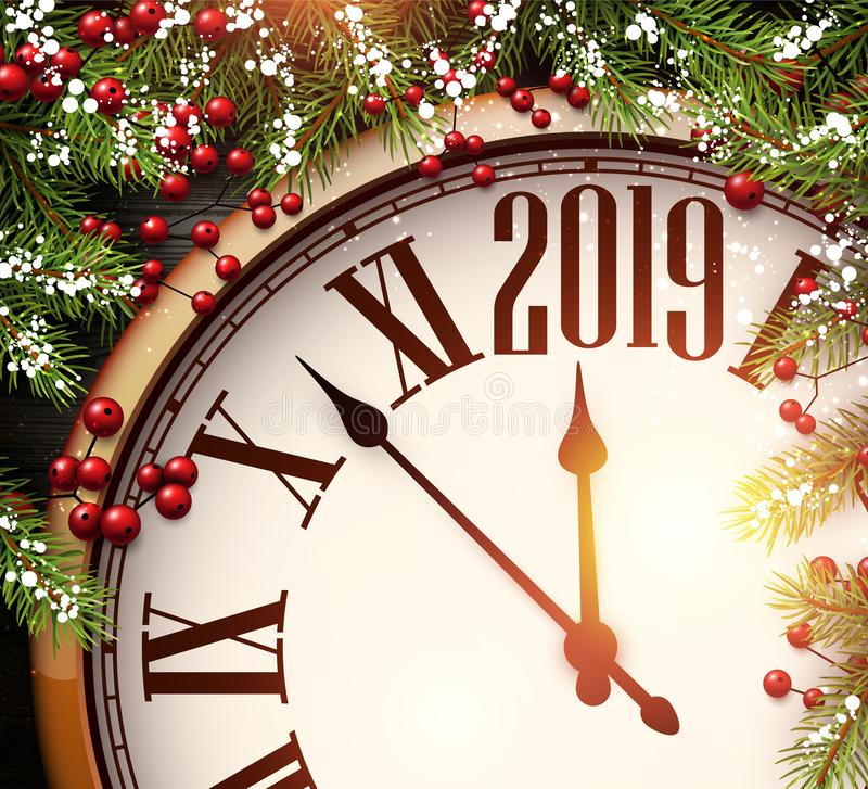 2019与时钟和冷杉的新年背景分支 皇族释放例证
