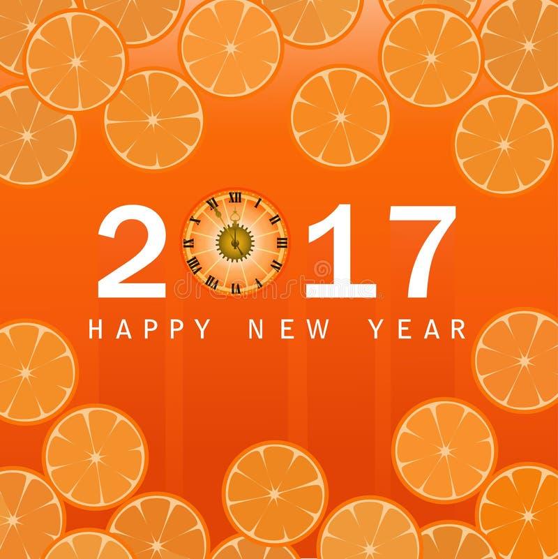 2017年与时钟和桔子的新年快乐背景 皇族释放例证