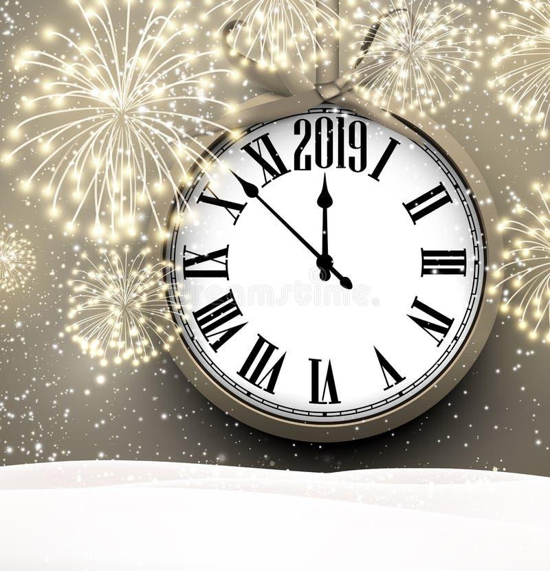 2019与时钟和烟花的新年背景 库存例证