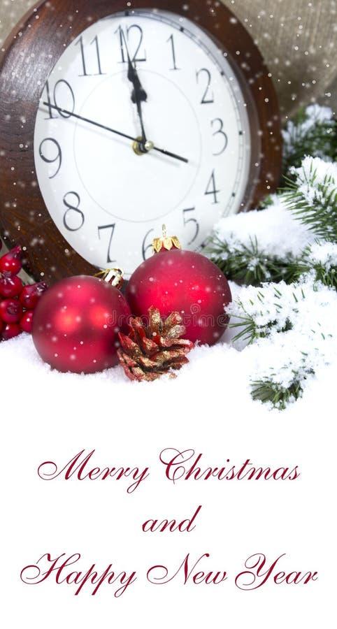 2015年与时钟和球的圣诞节装饰 图库摄影