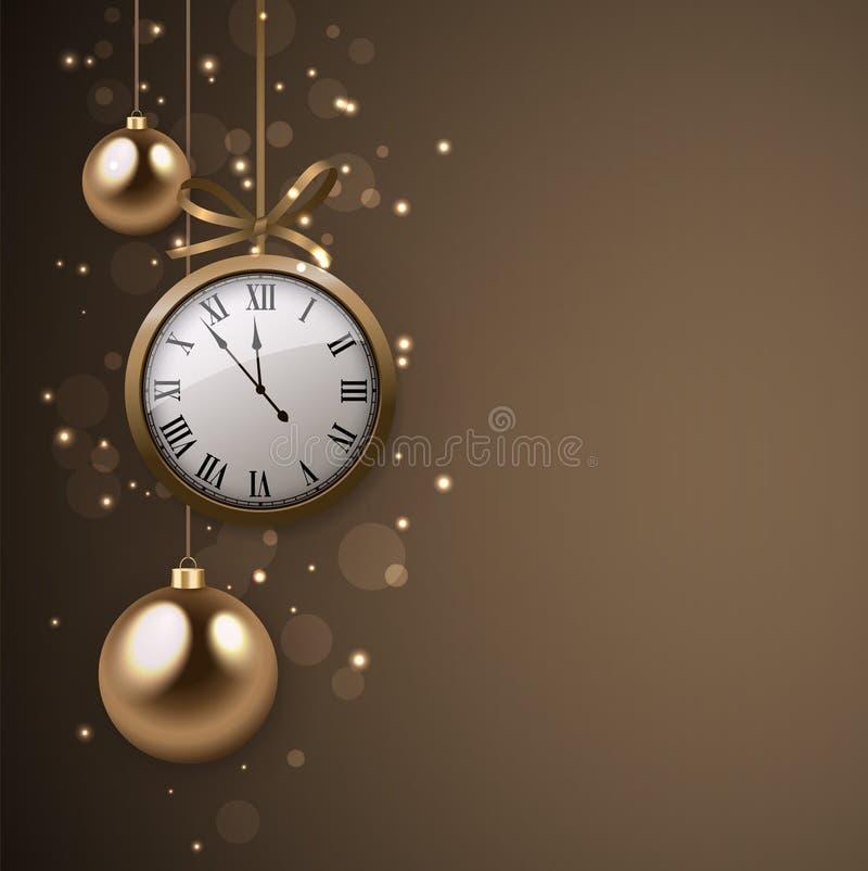 2017与时钟和银球的新年背景 向量例证