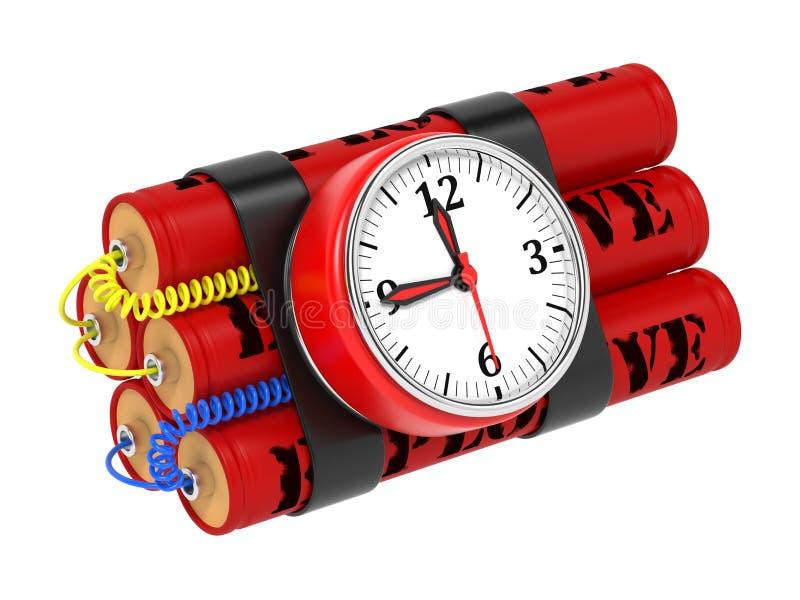 与时钟定时器的炸药炸弹。 向量例证