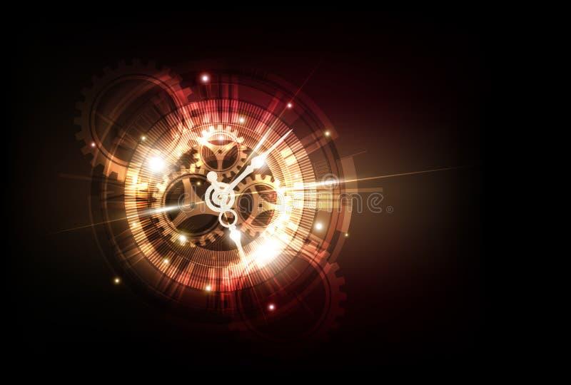 与时钟概念和时间机器,传染媒介的抽象未来派技术背景 库存例证