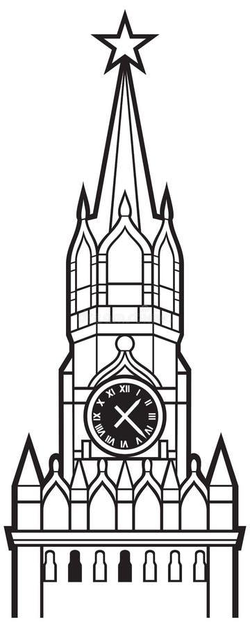 与时钟的克里姆林宫塔在莫斯科 库存例证