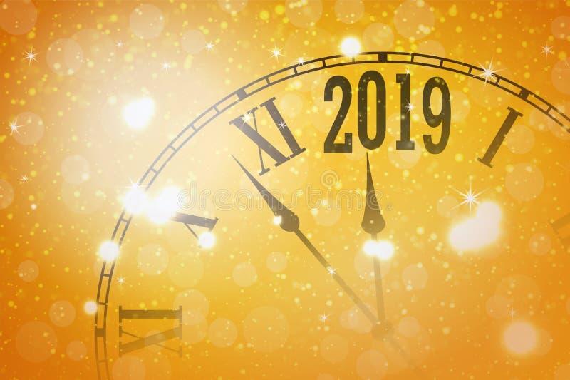 2019与时钟的新年发光的横幅 向量 向量例证