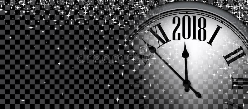 2018与时钟的新年横幅 皇族释放例证