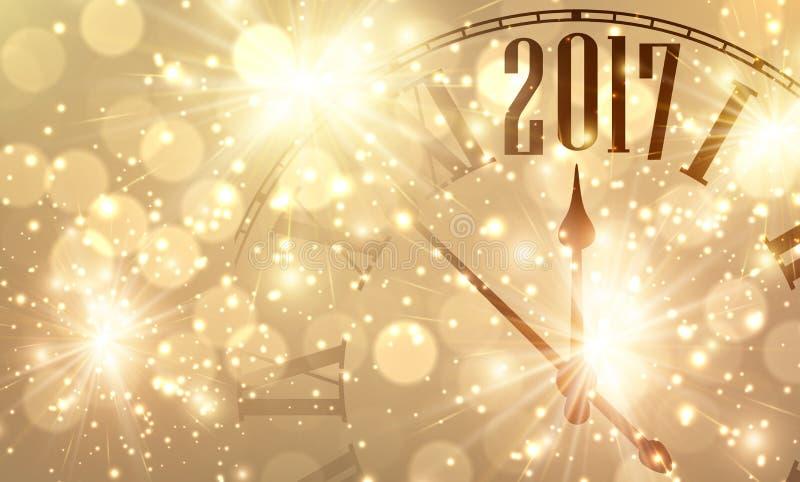 2017与时钟的新年横幅 皇族释放例证