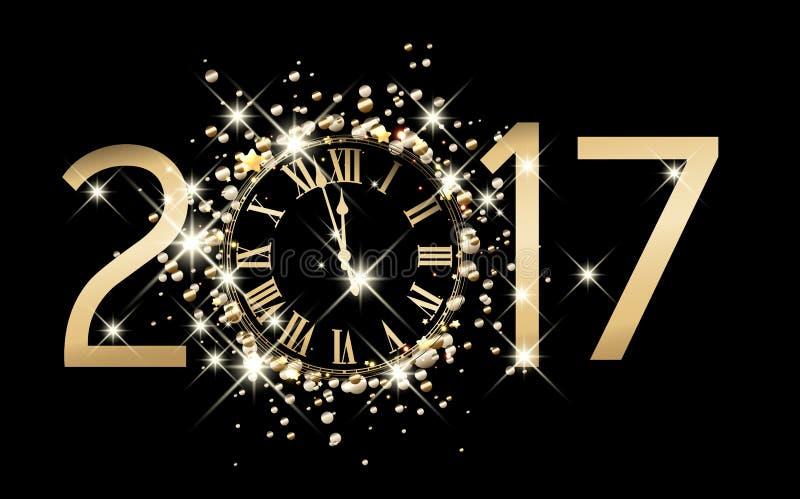 2017与时钟的新年背景 向量例证