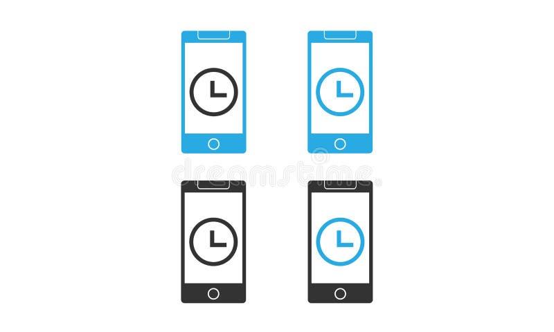 与时钟象的智能手机传染媒介 不同颜色智能手机传染媒介象概念 向量例证