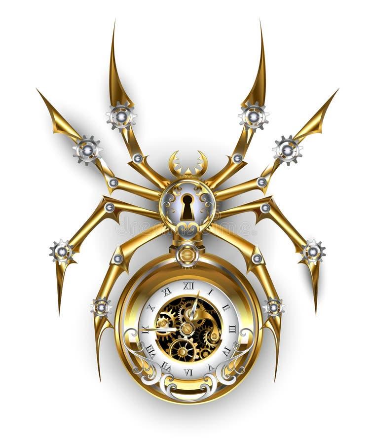 与时钟Steampunk的蜘蛛 向量例证
