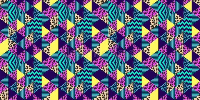 与时髦几何五颜六色的热带颜色背景传染媒介例证的豹子皮肤无缝的样式准备好时尚 向量例证