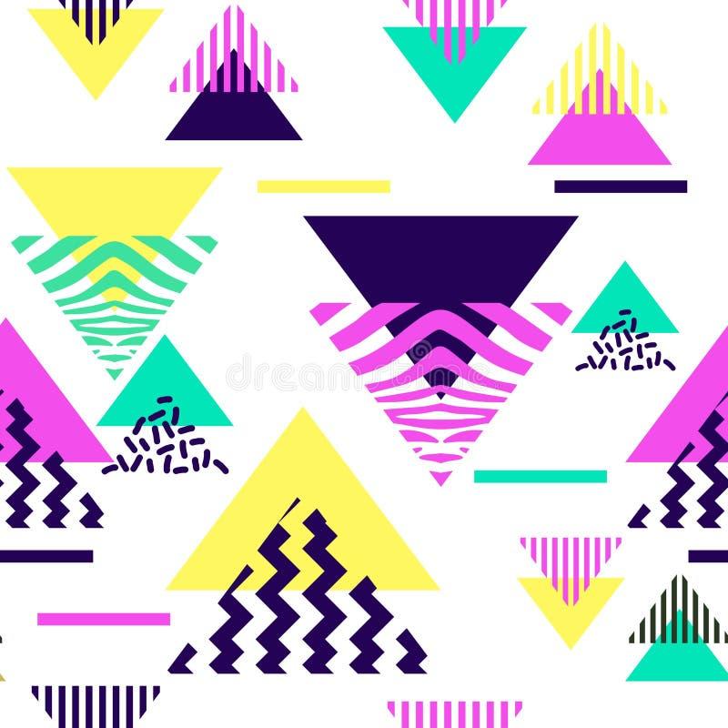 与时髦多色背景传染媒介例证的三角摘要无缝的样式 库存例证