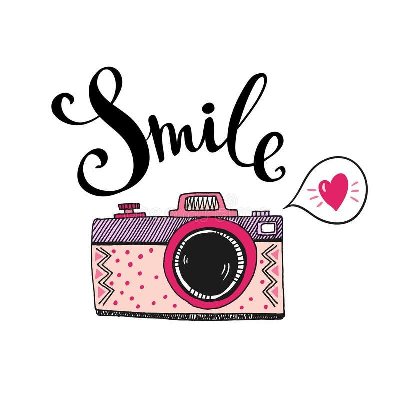 与时髦的字法-微笑的减速火箭的照片照相机 向量手拉的例证 皇族释放例证