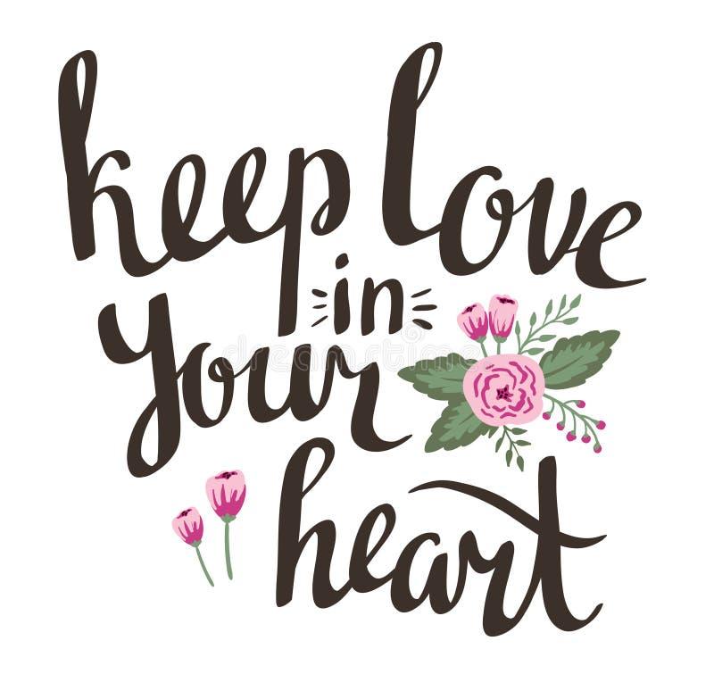 与时髦的爱字法的情人节卡片在您的心脏保留爱 向量例证