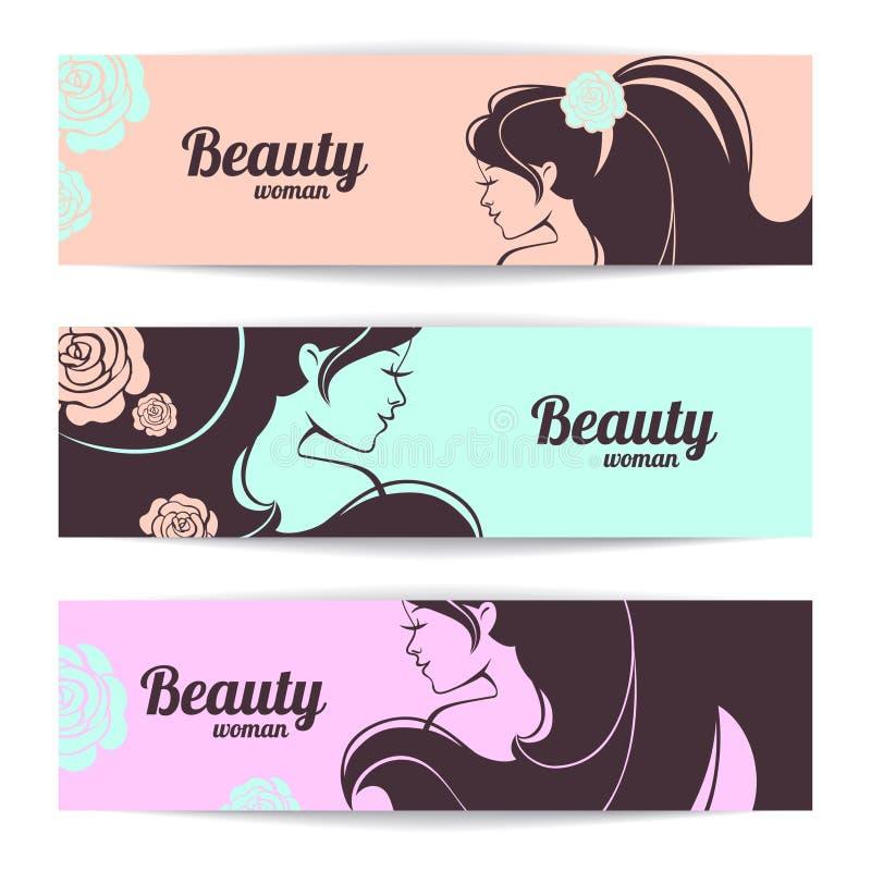 与时髦的美丽的妇女剪影的横幅 库存例证
