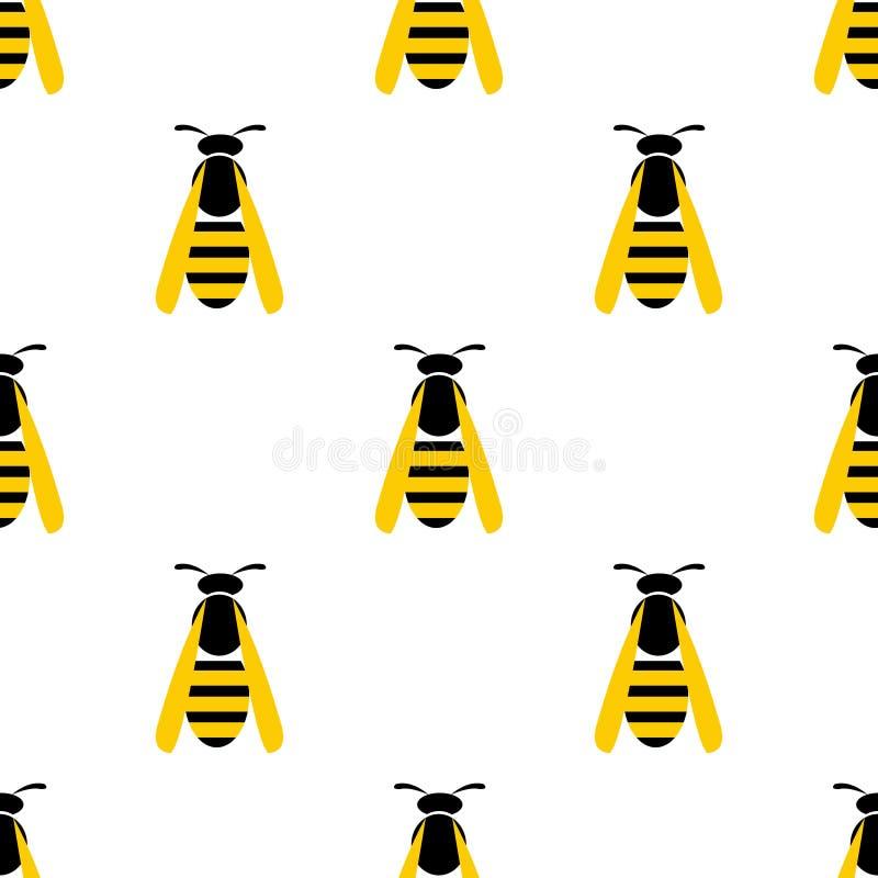 与昆虫的无缝的传染媒介样式,与特写镜头黄色黄蜂的对称背景在轻的背景 库存例证