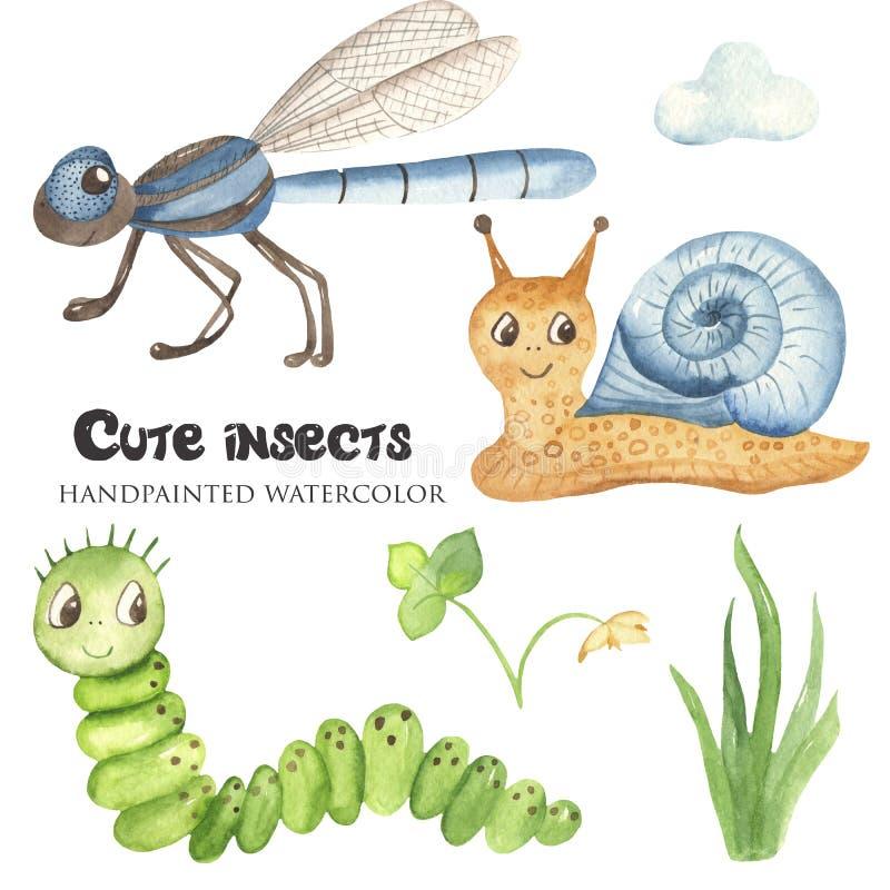 与昆虫的水彩逗人喜爱的幼稚动画片例证 皇族释放例证