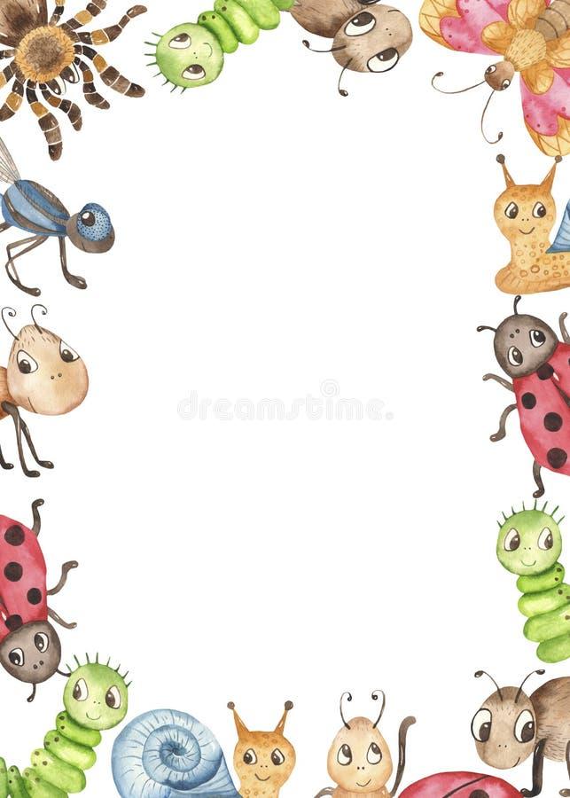 与昆虫的水彩逗人喜爱的幼稚动画片例证 向量例证