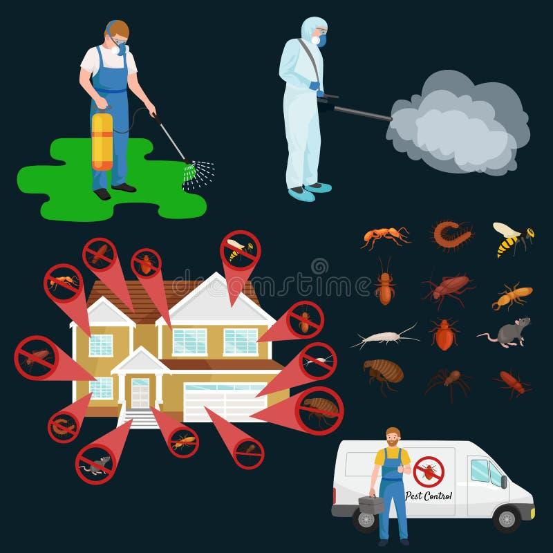 与昆虫驱除剂剪影平的传染媒介例证的害虫控制概念 向量例证