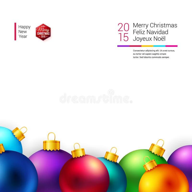 与明亮和五颜六色的圣诞节球的圣诞卡 库存例证