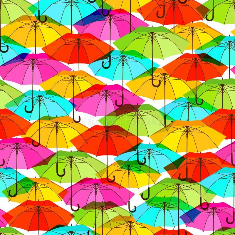 与明亮的五颜六色的伞的无缝的样式 向量例证
