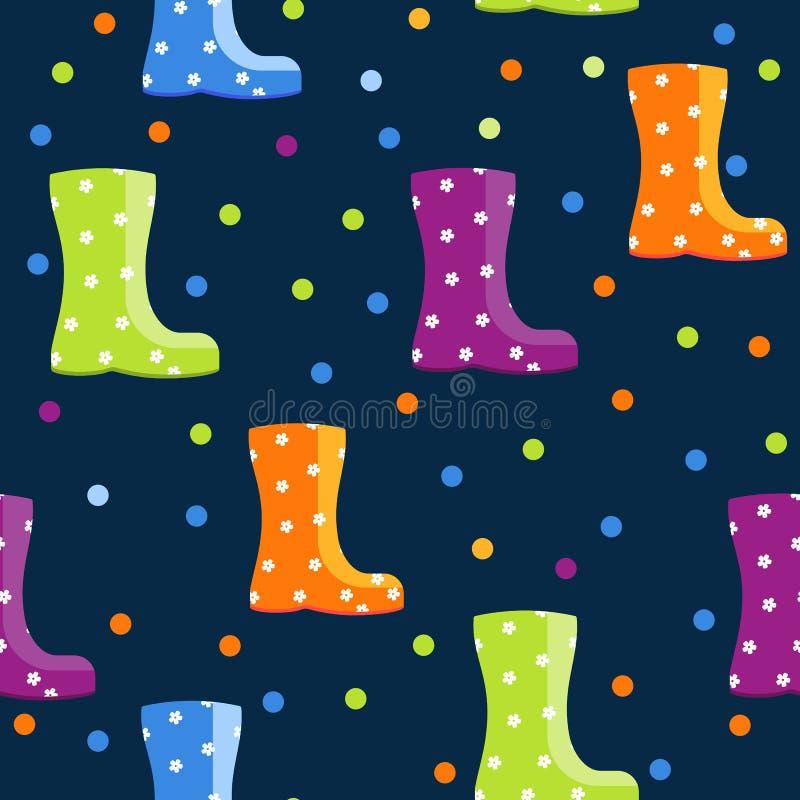 与明亮的五颜六色的胶靴的无缝的样式 皇族释放例证