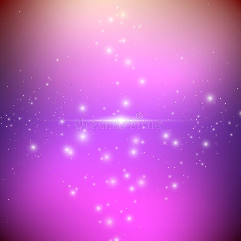 与明亮的光亮的星的宇宙星系背景 与星云和星团外籍人太空飞船的幻觉飞碟 库存例证
