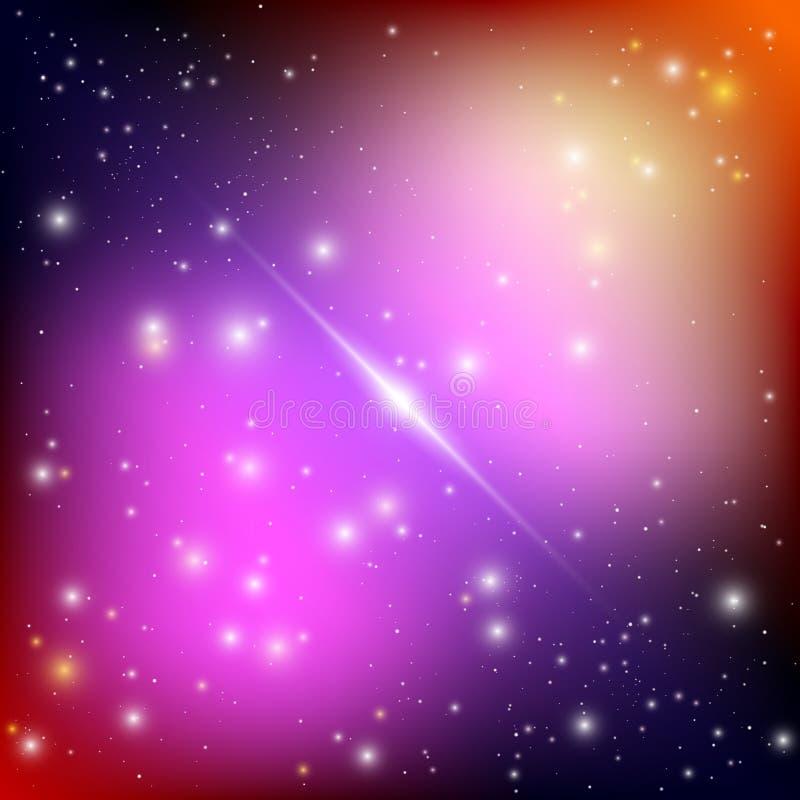 与明亮的光亮的星的宇宙星系背景 与星云和星团外籍人太空飞船的幻觉飞碟 向量 库存例证