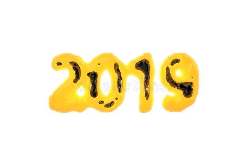 与明亮的发光的岩浆燃烧的壳和黑光泽做的2019个数字的新年快乐横幅lowpoly在核心上雕琢平面 皇族释放例证