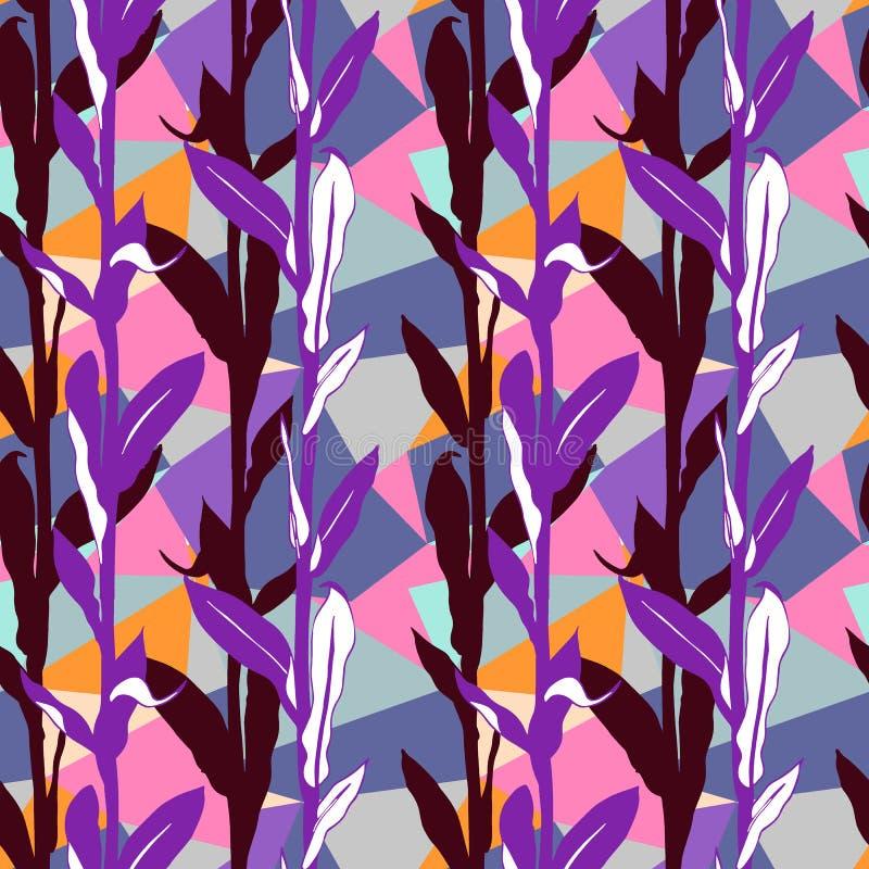 与明亮的叶子和几何主题的花卉样式 向量例证