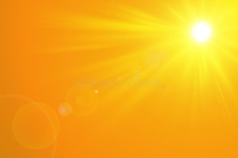 与明亮的太阳的晴朗的夏天背景在橙色背景 免版税图库摄影