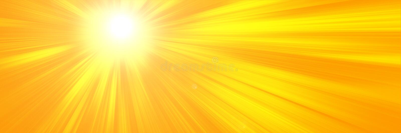 与明亮的太阳的晴朗的夏天背景在橙色背景 免版税库存图片