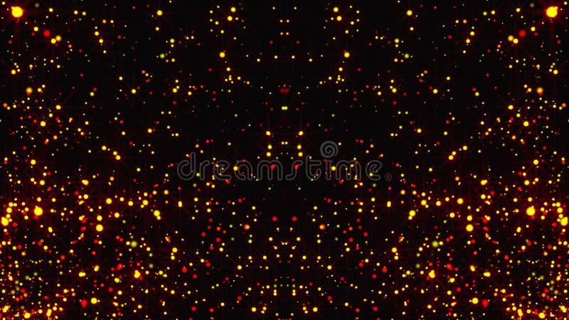 与明亮的微粒的抽象金雨与火光在空间,现代光滑的背景,3d翻译 向量例证