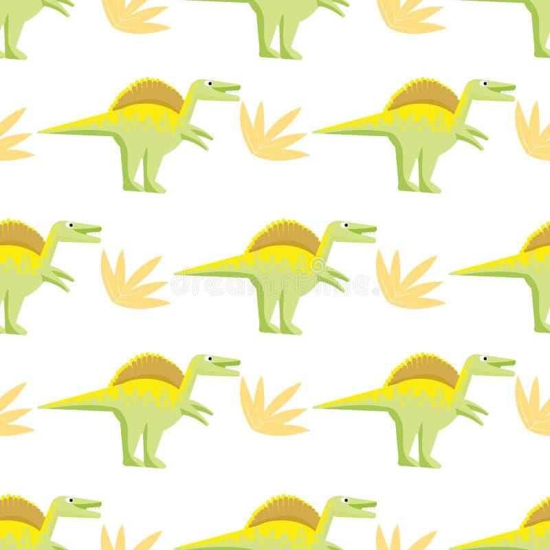 与明亮的恐龙的无缝的样式 库存例证