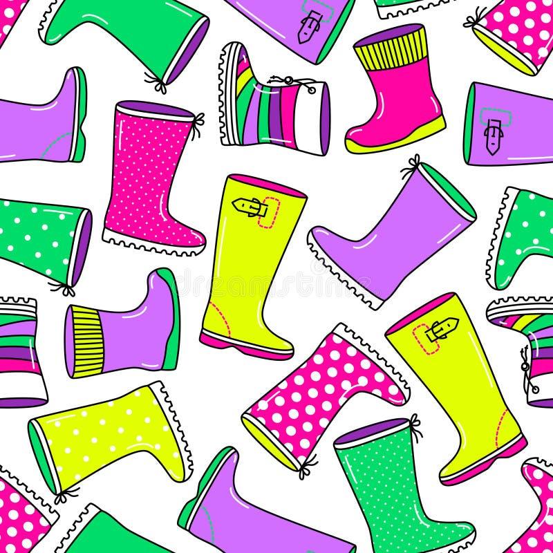 与明亮的手拉的胶靴的逗人喜爱的无缝的样式 库存例证