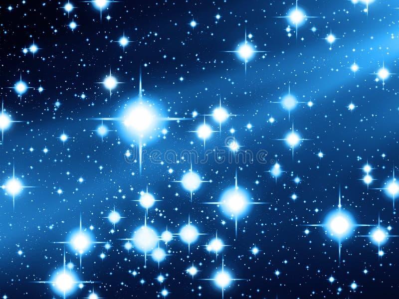 与明亮的星形的夜空场面 皇族释放例证