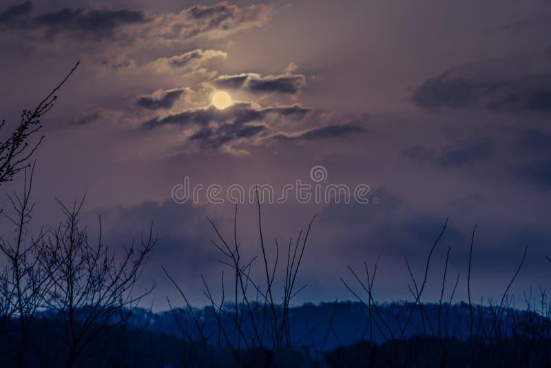 与明亮的月亮的令人毛骨悚然的黑暗的天空 免版税库存照片