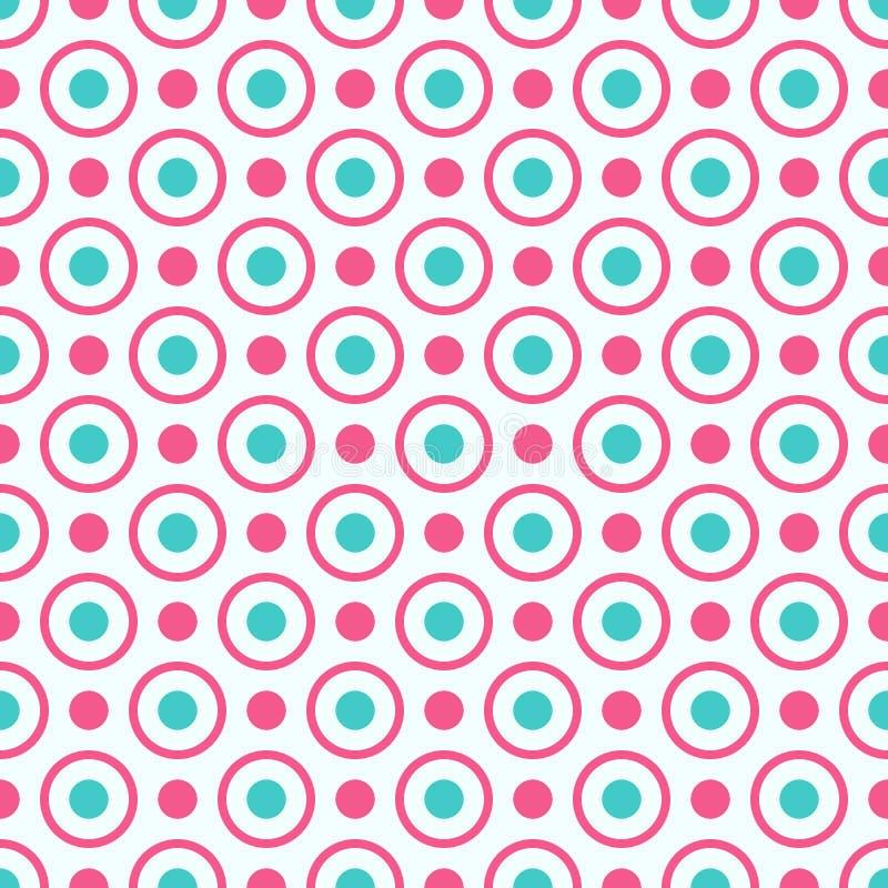 与明亮的桃红色和蓝色小点和圈子的无缝的几何样式 向量例证