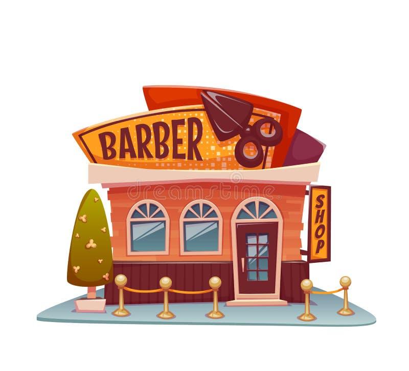 与明亮的横幅的理发店大厦 向量 向量例证
