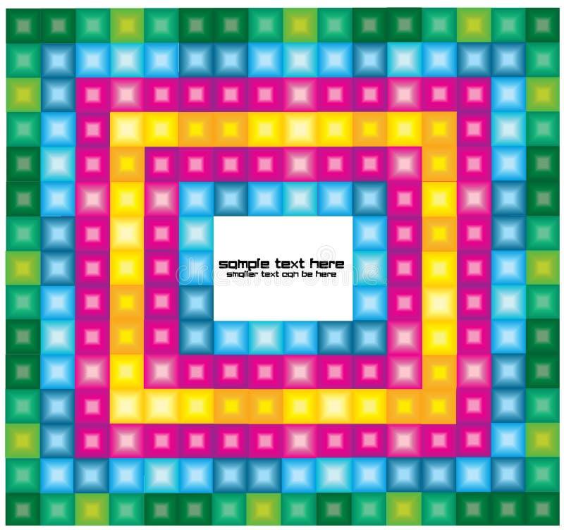 与明亮的正方形的抽象背景 库存例证