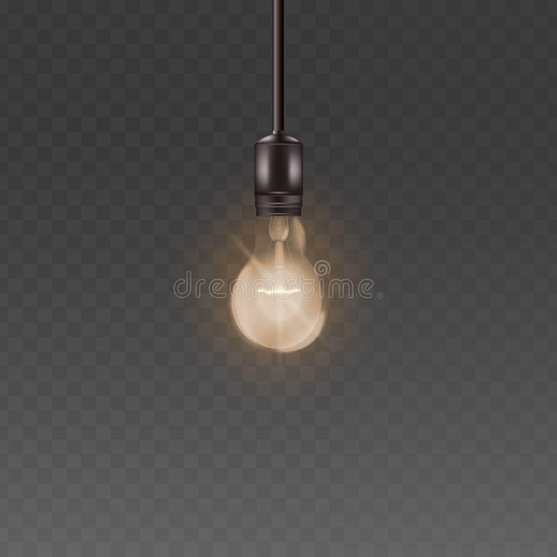 与明亮的温暖的光、现实顶楼样式玻璃电灯泡有电的和发光的导线的天花板灯电灯泡 库存例证