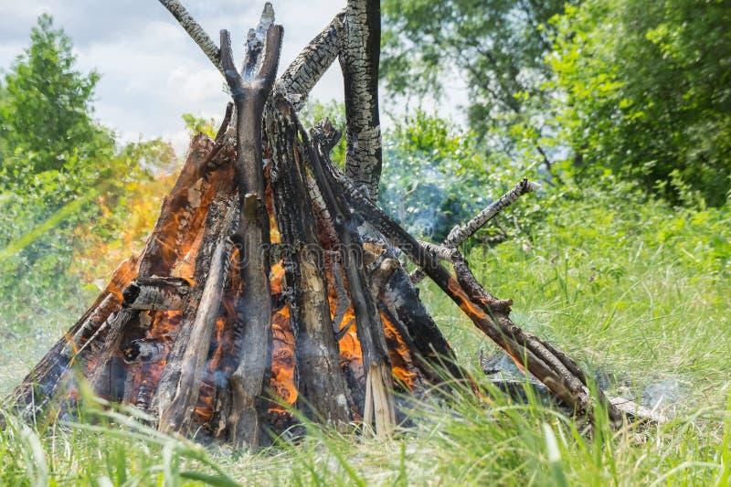与明亮的火焰的灼烧的篝火责骂特写镜头 免版税库存照片