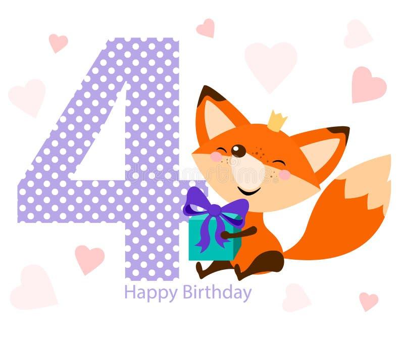 与明亮的礼物的逗人喜爱的狐狸 愉快生日贺卡的设计 向量例证