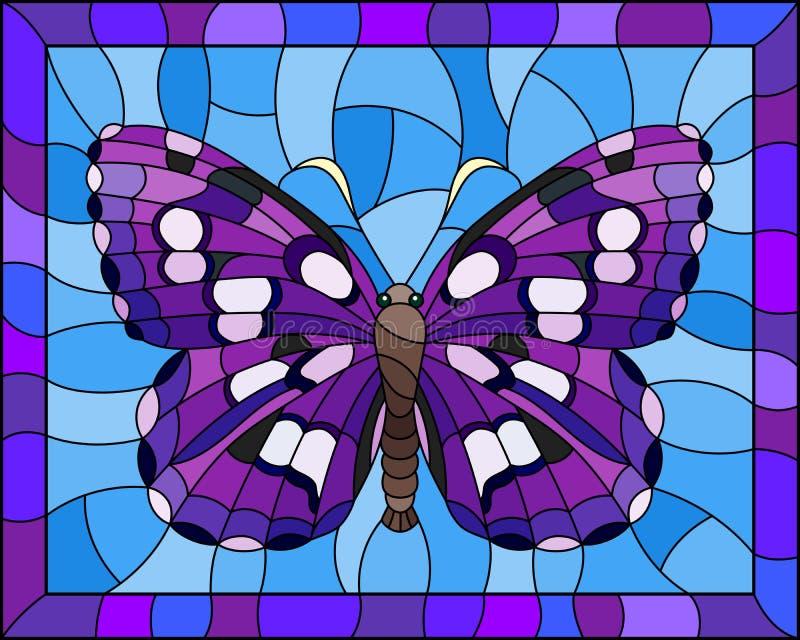 与明亮的紫色天蛾的彩色玻璃例证在一个明亮的框架的蓝色背景 库存例证