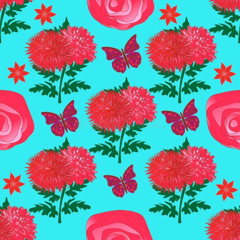 与明亮的红色菊花、玫瑰和蝴蝶的无缝的花卉样式 皇族释放例证