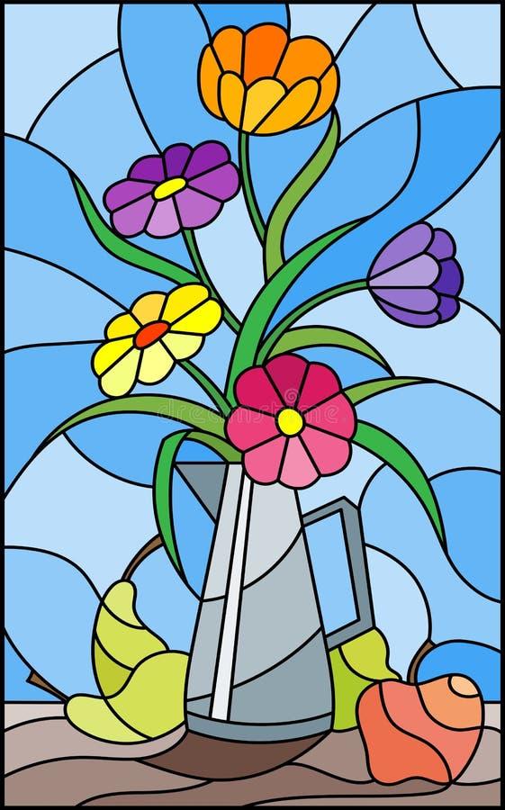 与明亮的花花束的彩色玻璃例证在一个金属水罐、梨和苹果的在蓝色背景的桌上 库存例证