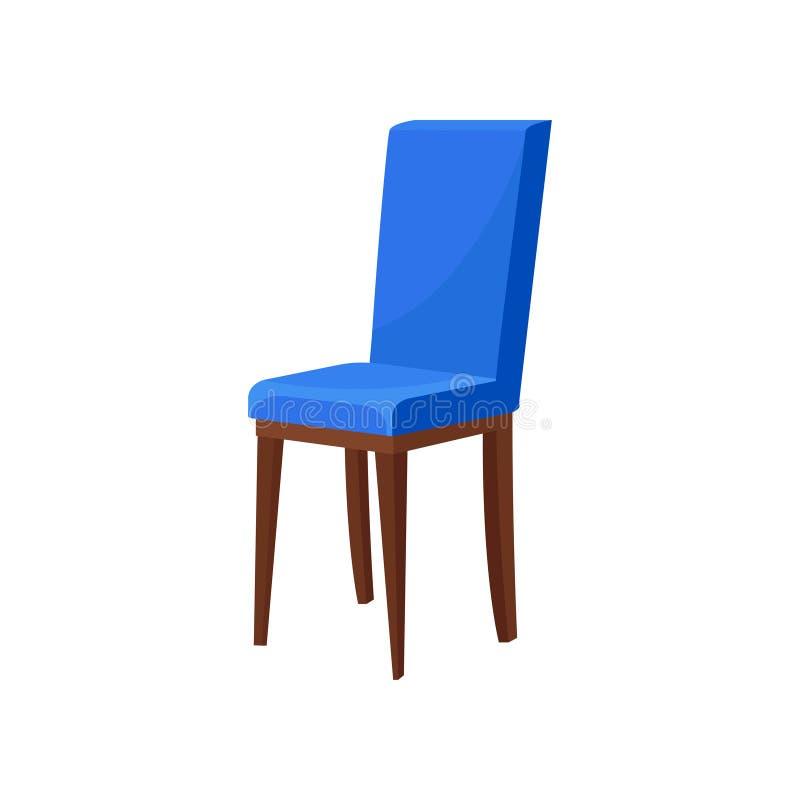 与明亮的蓝色室内装饰品的舒适的木椅子 供以座位软件 餐厅的家具 平的传染媒介象 向量例证