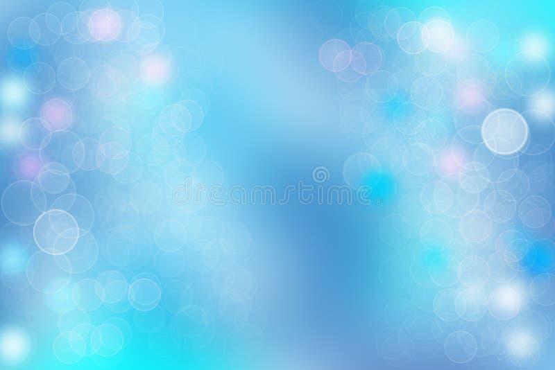 与明亮的软的c的抽象明亮的蓝色bokeh背景纹理 向量例证