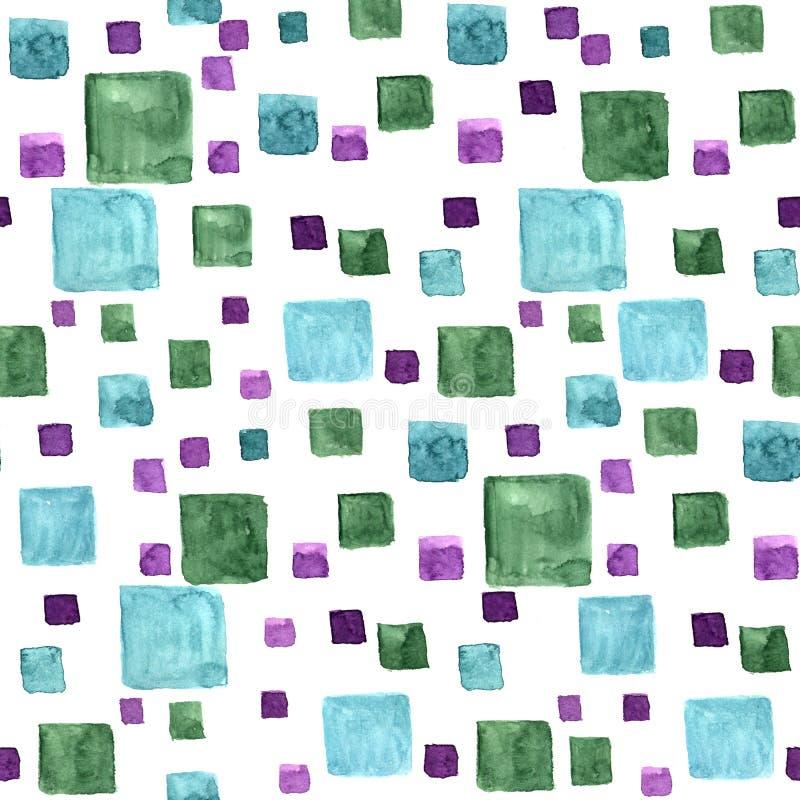 与明亮的长方形和正方形的无缝的样式水彩 绿色和蓝色时髦颜色 手在白色的凹道纹理 向量例证
