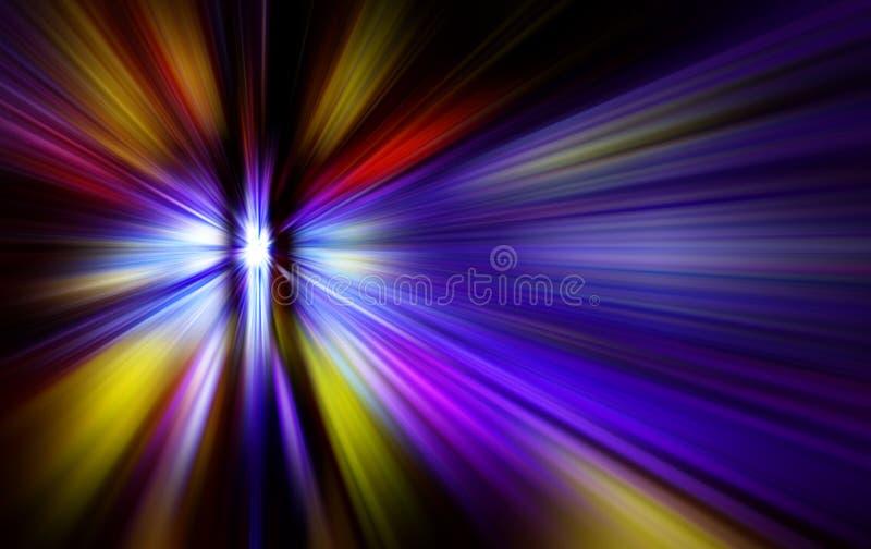 与明亮的闪光的抽象背景在中心和光芒 图库摄影